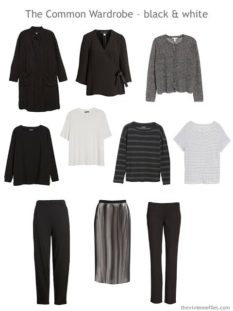 A black and white 10-piece Common Wardrobe from Eileen Fisher
