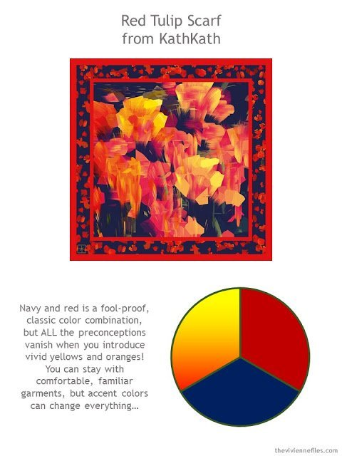 Red Tulip Scarf from KathKath with style guidelines and color palette