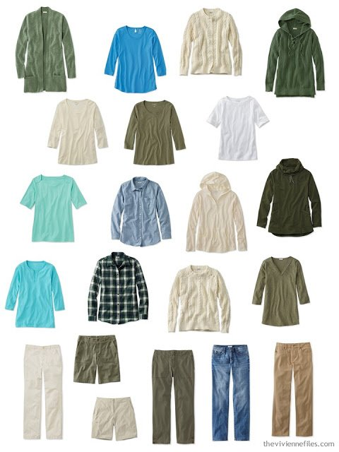a casual wardrobe in olive, beige and shades of blue and green