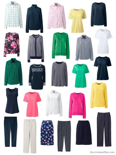 capsule wardrobe for spring, in navy with brights