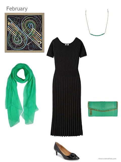 a black dress with green accessories
