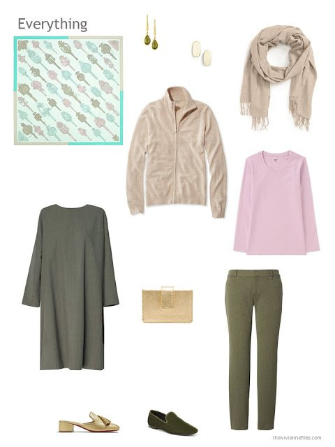 a 4-piece capsule wardrobe based on olive green