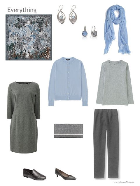 a 4-piece capsule wardrobe based on grey