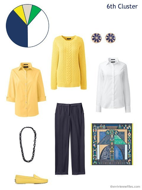 A spring wardrobe cluster in navy and yellow