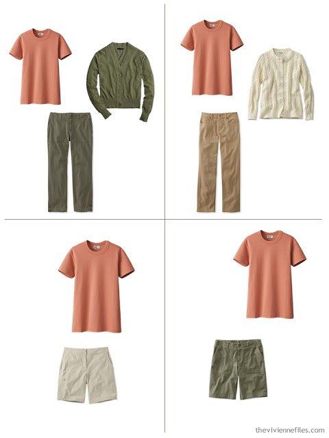 adding a rust tee shirt to a leisure wardrobe