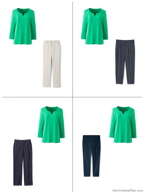 adding a green 3/4 sleeve henley to a spring capsule wardrobe