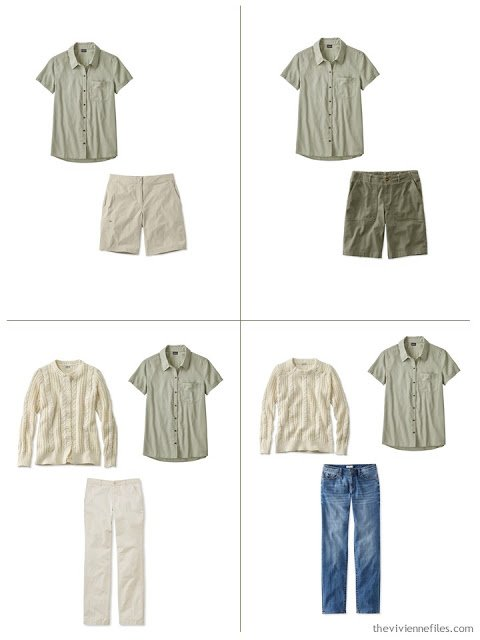 adding a sage green camp shirt to a leisure wardrobe