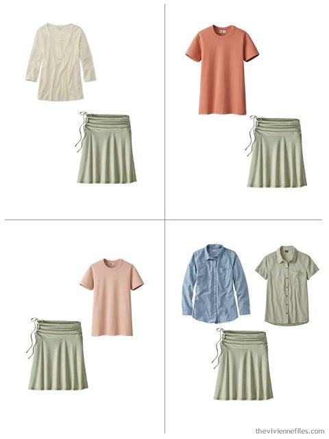 adding a sage green skirt to a leisure wardrobe