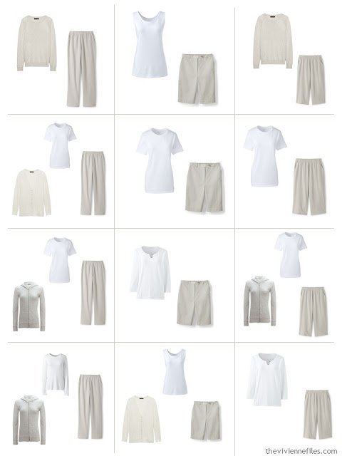12 outfits from a Common Wardrobe in stone beige and white