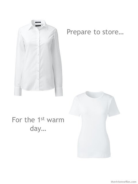 shifting from white shirts to white tee shirts as the weather warms