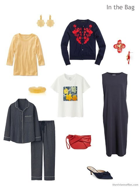 Tote Bag Travel Capsule Wardrobe in navy and yellow with red and orange accents