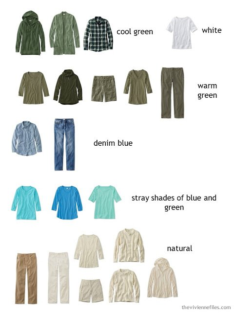 a casual wardrobe in olive, beige and shades of blue and green sorted by color