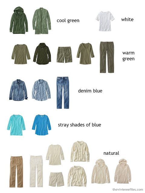 casual wardrobe sorted by color