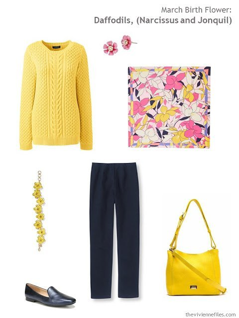 wearing daffodil yellow with navy
