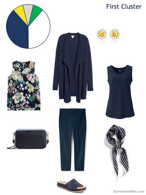 a navy spring wardrobe cluster