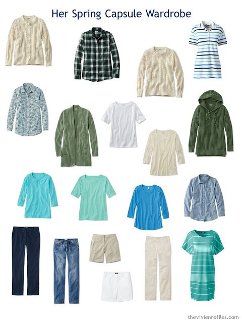 Spring wardrobe in beige and blue, with shades of green