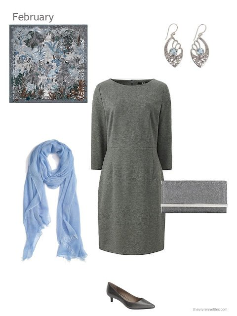 a grey dress with light blue and grey accessories