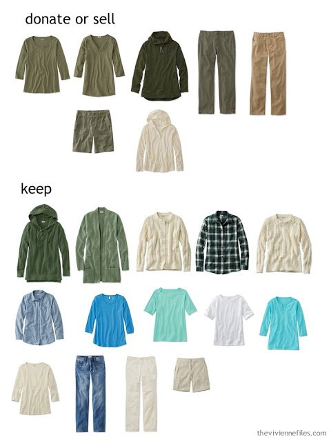 casual wardrobe sorted by what to keep and what to donate