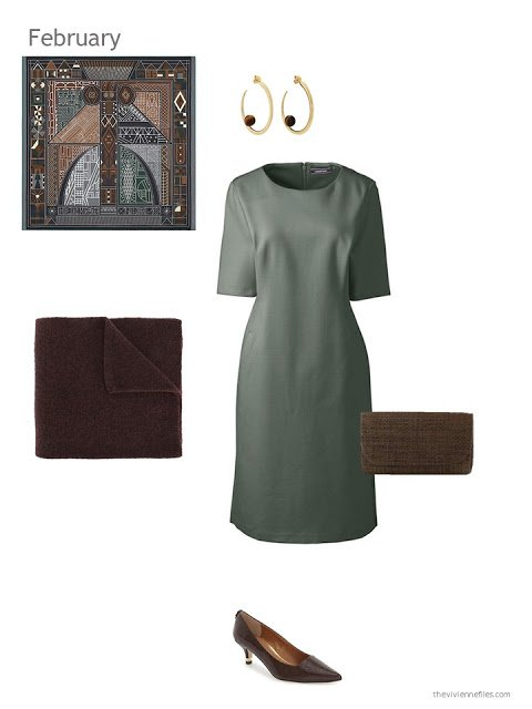 a green dress with brown accessories