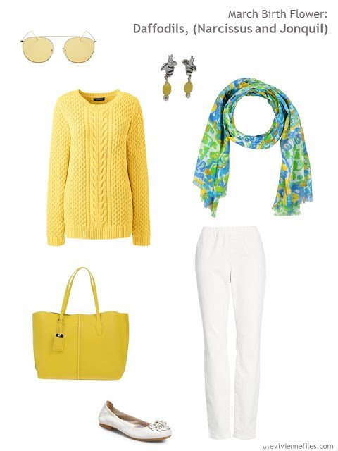 wearing daffodil yellow with white