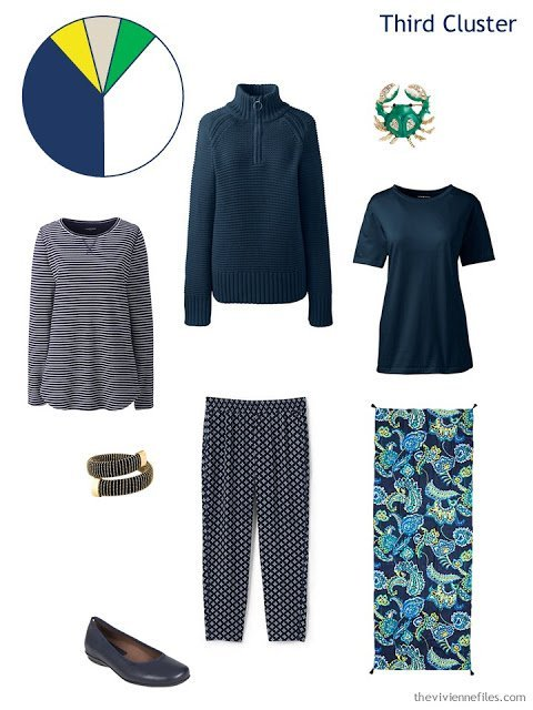 a spring wardrobe cluster with printed navy pants