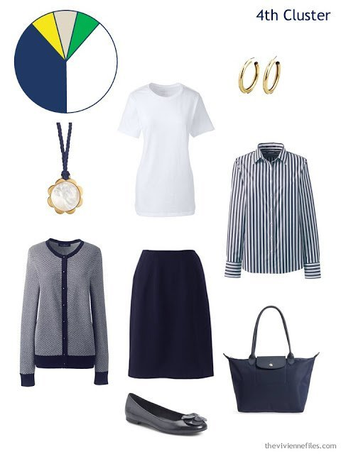 a spring wardrobe cluster around a navy skirt