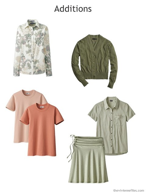warm olive, sage and apricot wardrobe additions