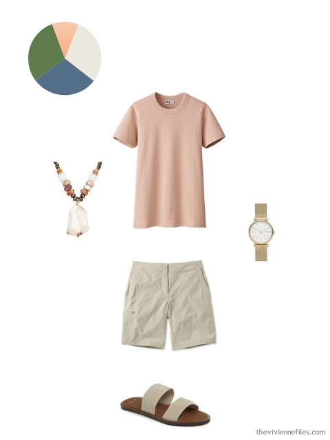 apricot tee shirt with khaki shorts