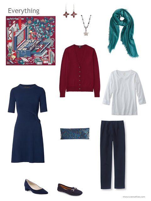 a 4-piece capsule wardrobe based on navy