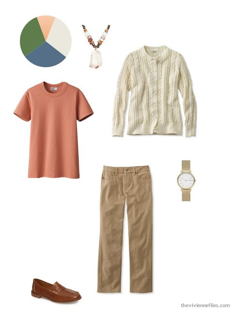 rust tee, cream cardigan and tobacco jeans