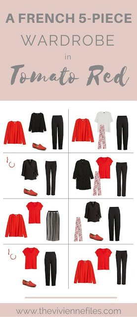 A French 5-Piece Wardrobe in Tomato Red