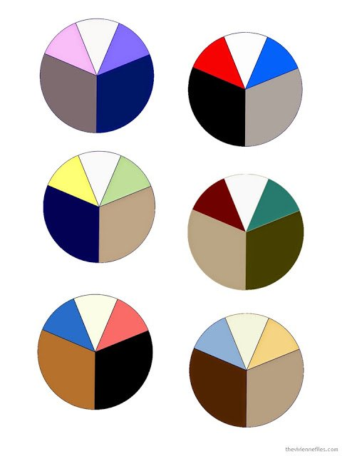 six wardrobe color palettes