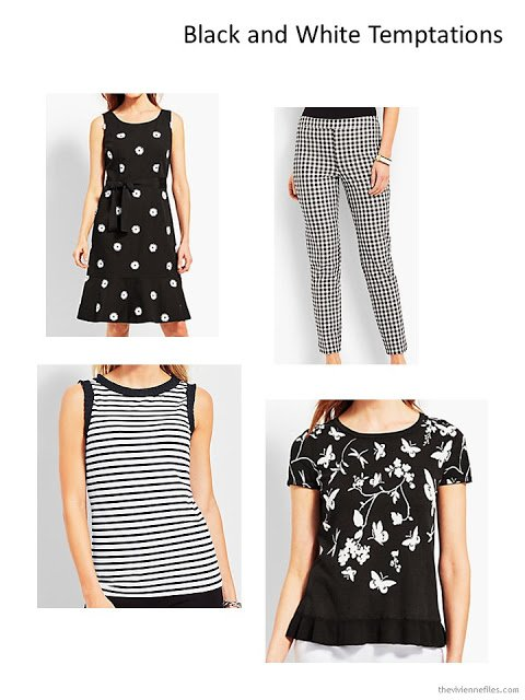 4 black and white garments from Talbots
