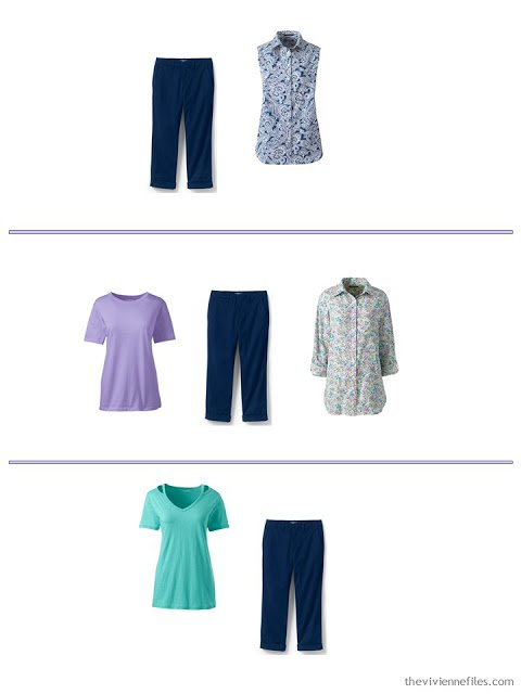 3 ways to wear navy capris from a spring and summer travel capsule wardrobe