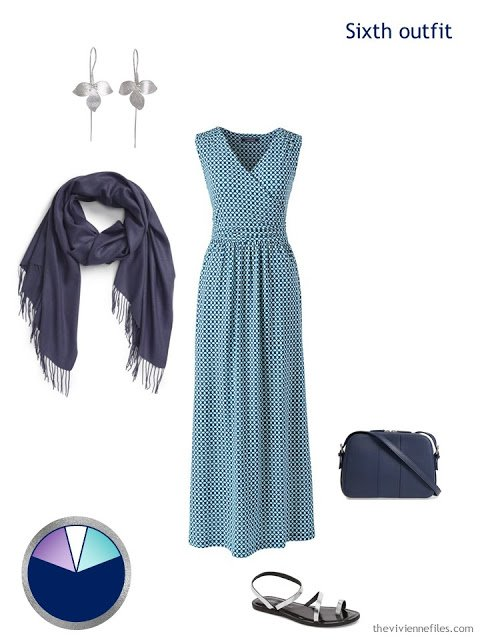 teal print maxi dress with accessories
