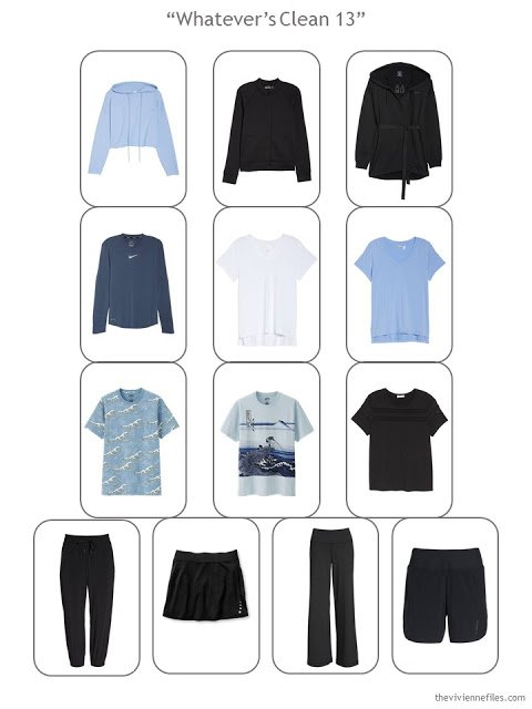 Whatever's Clean 13-piece sports wardrobe in black, blue and white