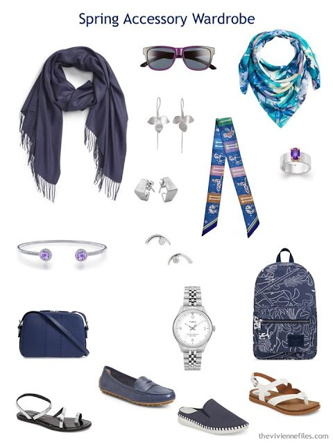 Spring Accessory Travel Capsule Wardrobe for a navy, teal, lavender and white wardrobe
