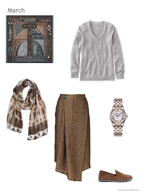 grey sweater with brown brocade skirt