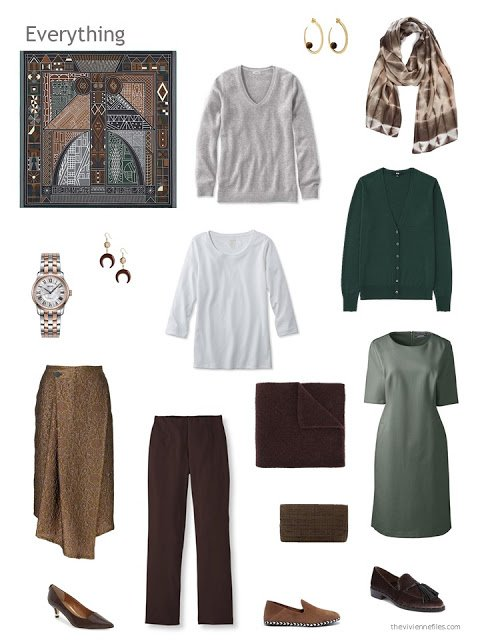 capsule wardrobe in browns with green, grey and white accents