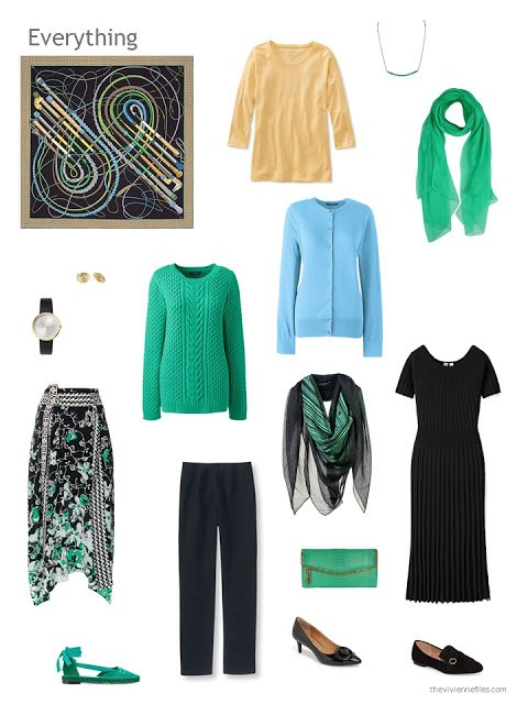 capsule wardrobe in black with green, yellow and blue