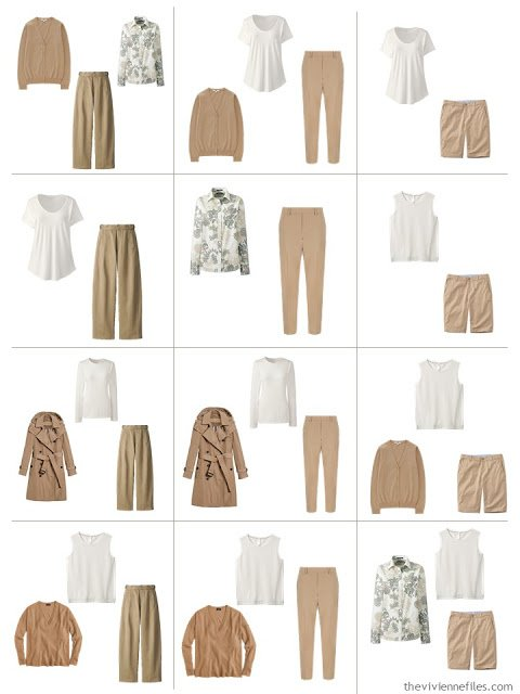 12 outfits from a 10-piece Common Wardrobe in camel and ivory