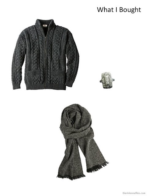 Charcoal Aran cardigan, antique marcasite & sterling ring, black tweed scarf