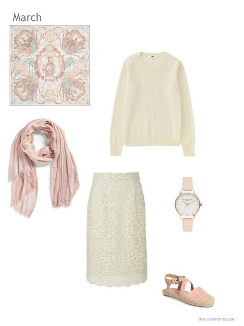 ivory sweater with an ivory lace skirt
