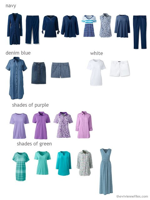 spring and summer capsule wardrobe sorted by color