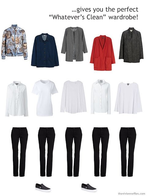 a uniform wardrobe of 15 pieces with colored and print jackets, white tops and black jeans