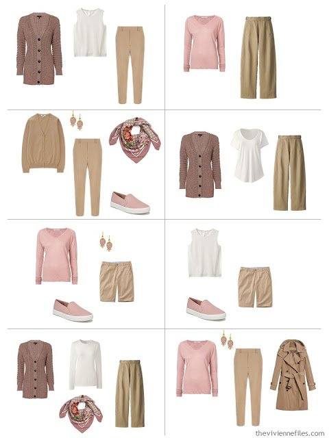 8 outfits from A Common Wardrobe in camel and ivory accented with Ash Rose