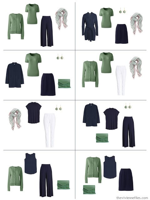 8 outfits in navy and white accented with lovet green