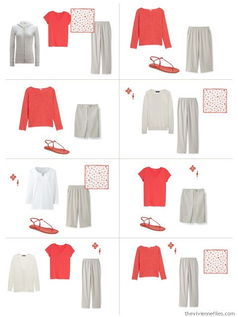 8 outfits in stone and white using strawberry as an accent