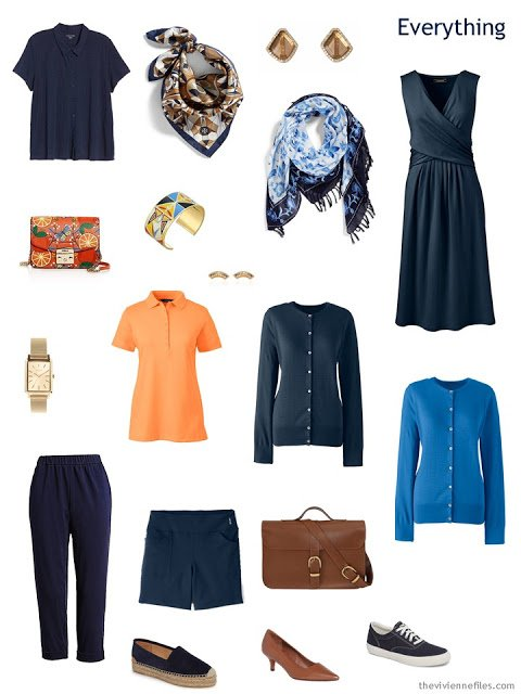 Tote Bag Travel capsule wardrobe in navy with orange and bright blue accents