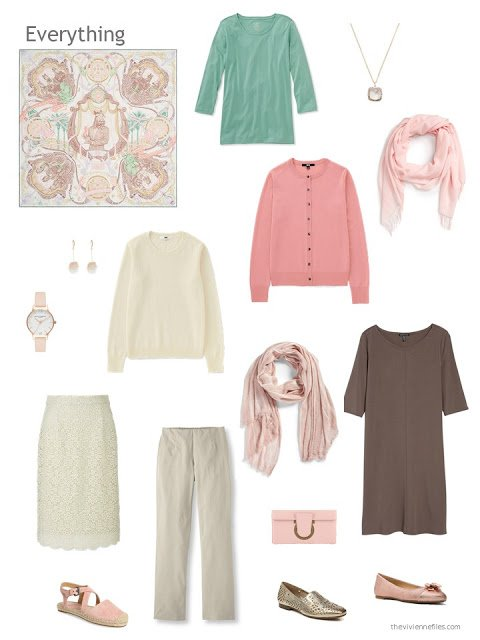 capsule wardrobe in brown and ivory with green and peach